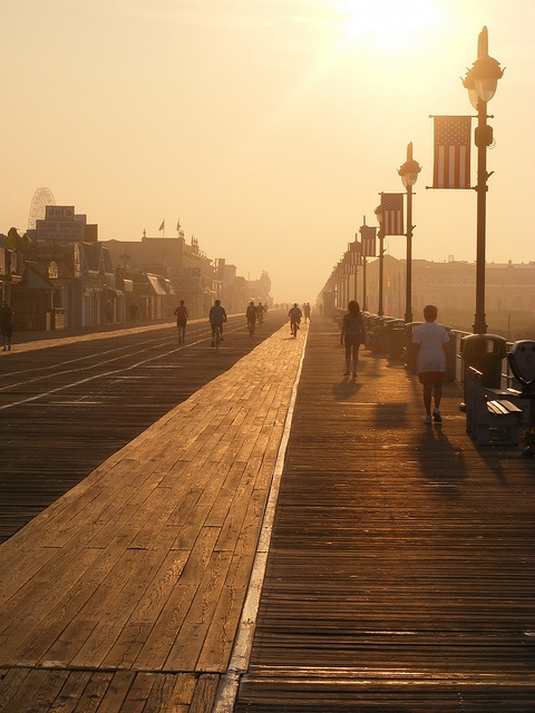 Ocean City, NJ boardwalk at sunrise- Dawn of a New Day