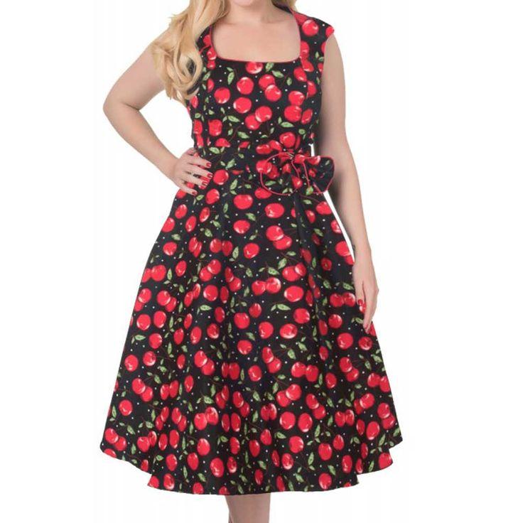Swing Harriet jurk met strik en kersen print zwart/rood - Vintage 50's Rockabilly retro