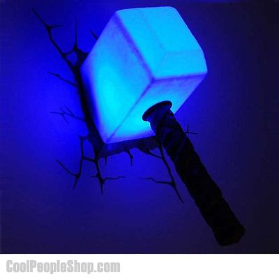 $59.99 Thor Hammer Nightlight | Cool People Shop Thor Hammer Nightlight. The Marvel Avengers Night Lights from 3D Light FX are incredible bedroom additions for kids of all ages.  These elaborate night lights use a cracked wall decal to make it appear as if they're literally bursting through the wall. The most convincing of these night lights is the Thor Hammer night light. This light looks just like Thor's famous, all-powerful hammer.
