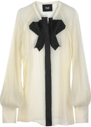 ShopStyle: D Dolce & Gabbana Bow-embellished silk blouse