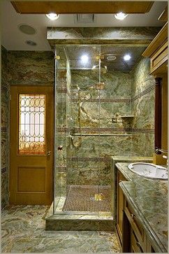Custom steam shower with Onyx Slabs and glass tile accents - eclectic - bathroom - new york - by New York Shower Door