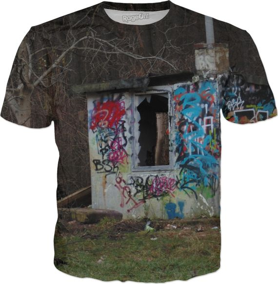 Destroyed punks hut in polish forest, grunge style, graffiti, Poland, Polska in color. Destroyed punks hut in polish forest, grunge style, graffiti, Poland, Polska. Shirt. ... #erotic #art #prints #canvas #decor