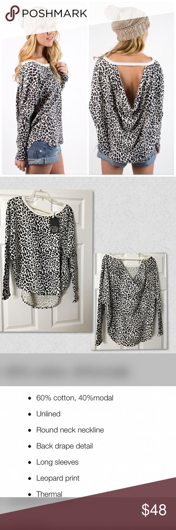 Chaser Animal print thermal drape back top! Super cute fit in thermal with dolman sleeves a rounded hemline and a drape back! Chaser Tops