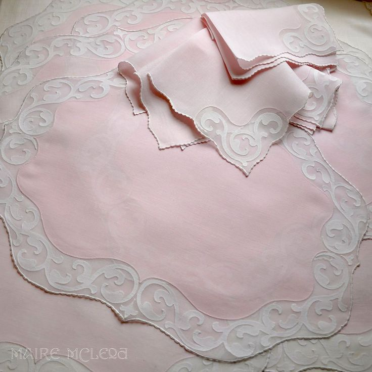 Finest Vintage Madeira Pink Placemats / Naps Embroidered/Applique from Maire McLeod on Ruby Lane
