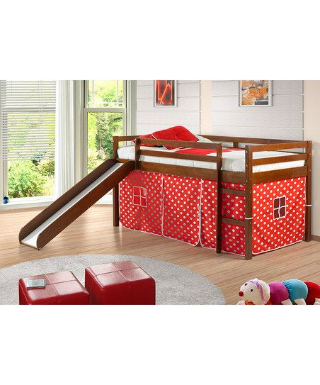 "Espresso & Red Polka Dot Tent Twin Loft Bed & Slide; Loft play space with slide; 41""W x 46""H x 81""D; Tent clearance: 29'' H; Slide: 14.75'' W x 57.5'' L; Donco Kids"