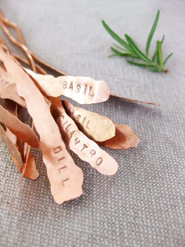 Herb Markers Set of 5 Hammered Textured Recycled Copper Custom Stamping.