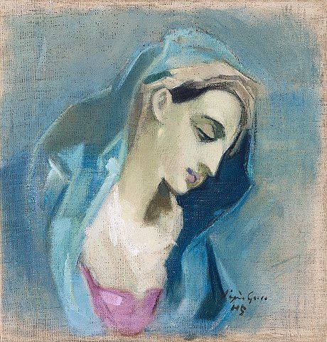 """9560716 bukobject. HELENE SCHJERFBECK, """"BLÅ MADONNA"""" (BLUE MADONNA). Signed """"d'après Greco"""" HS. Executed in 1943. Canvas 48 x 45.5 cm."""