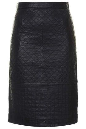 Quilted Leather Pencil Skirt - Skirts - Clothing