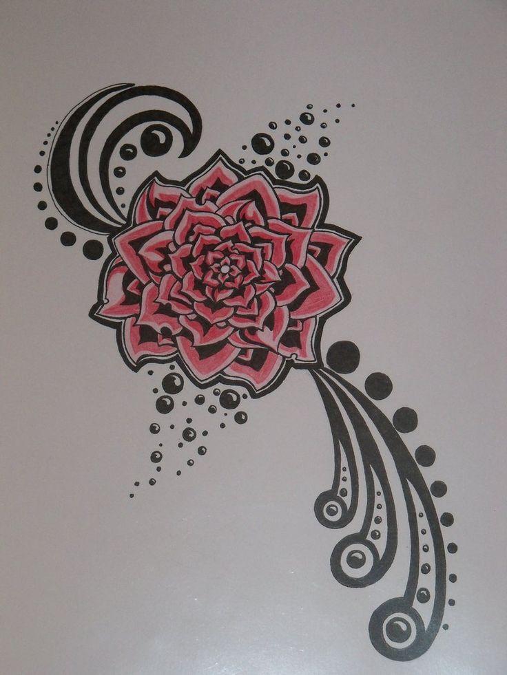 red flower tattoo photo by crazyeyedbuffalo on DeviantArt