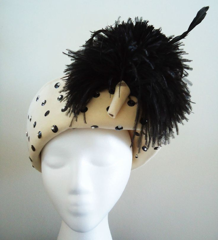 Jack McConnell Boutique Vintage 1960s Rhinestone Jeweled Wool Brim Feather Hat #JackMcConnellBoutique #Church