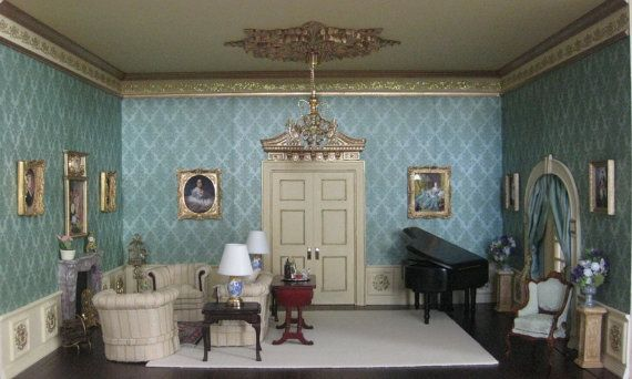 80 Best Images About Room In A Box On Pinterest: Downton Abbey Inspired Dollhouse Miniature Room Box 1/12th