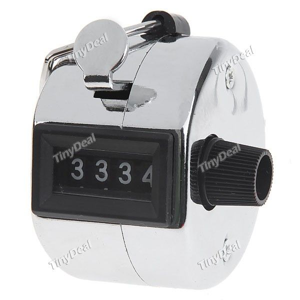 Manual Hand Tally Counter 4 Digit Number Click Counter - Silver HHE-67905