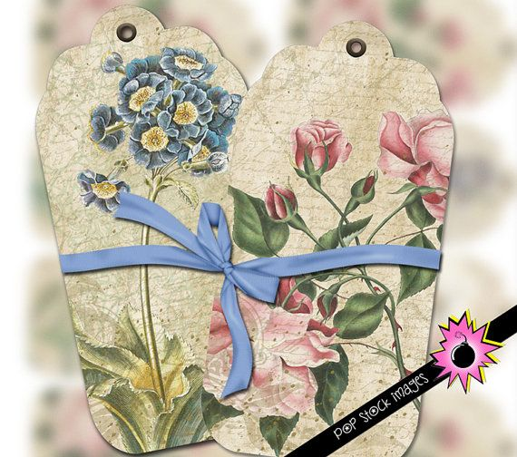 """Each tag measures approximately 2.0"""" x 3.75"""". There are (4) unique designs per sheet, all in a coordinating color palette. One design is repeated. There are a total of (10) tags per sheet. Features roses, day lily, anemone, and iris."""