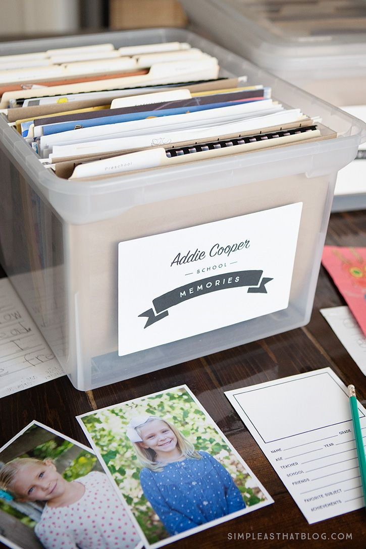 Tame your child's school paper clutter with this simple filing system. Contain their precious school momentos from pre-K through grade 12 all in one place. In the post you'll find a list of supplies, free printable labels and yearly questionnaires to get you started.