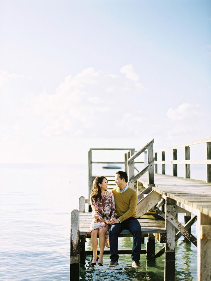engagement photography on a pier in portsea