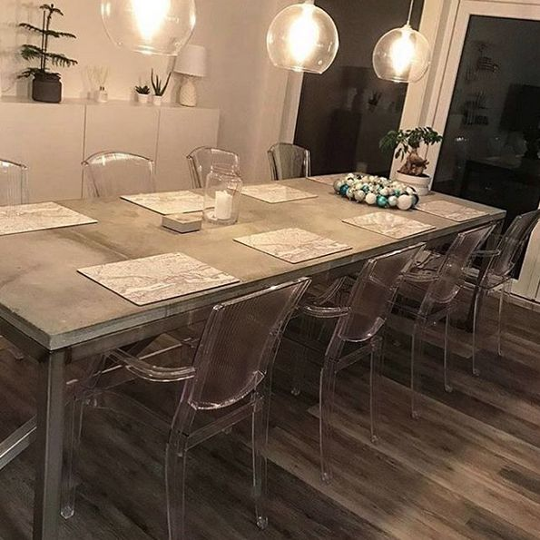 Transparent Schnauzern stol. Plast, kök, matsal, polykarbonat, karm, inredning, möbler.