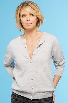 Le cardigan 100% cachemire made in France porté par Sylvie Tellier - égerie B. Solfin Collection AH7