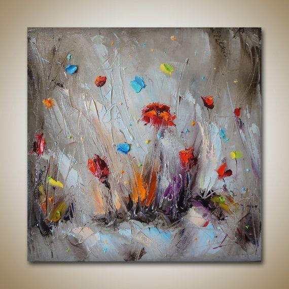 Mohnblumen Olgemalde Blumen Feld Zusammenfassungs Landschaftskunst Abstrakte Malerei Landschaftskunst Abstrakte Malerei Abstrakt