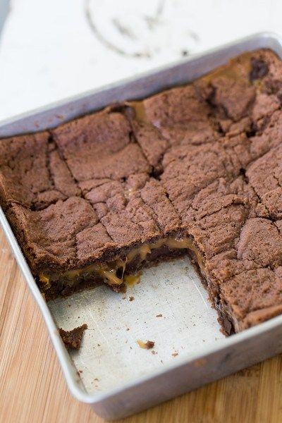 Basement brownies - a layer of chocolate chips and caramel make these ...