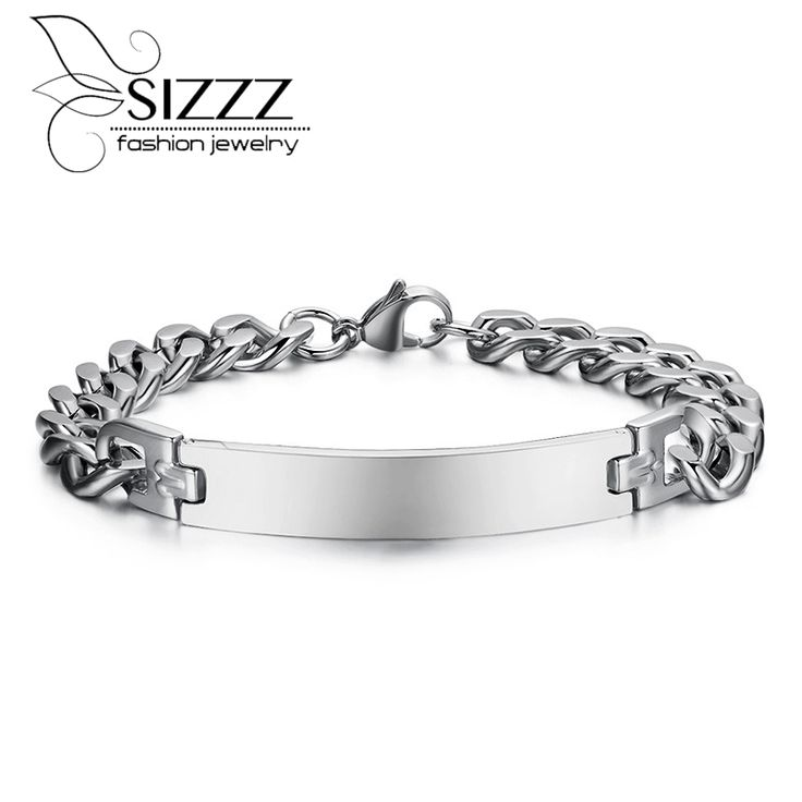 Free engraving 316l stainless steel bracelet & bangle for men ID bracelets jewelry never rust