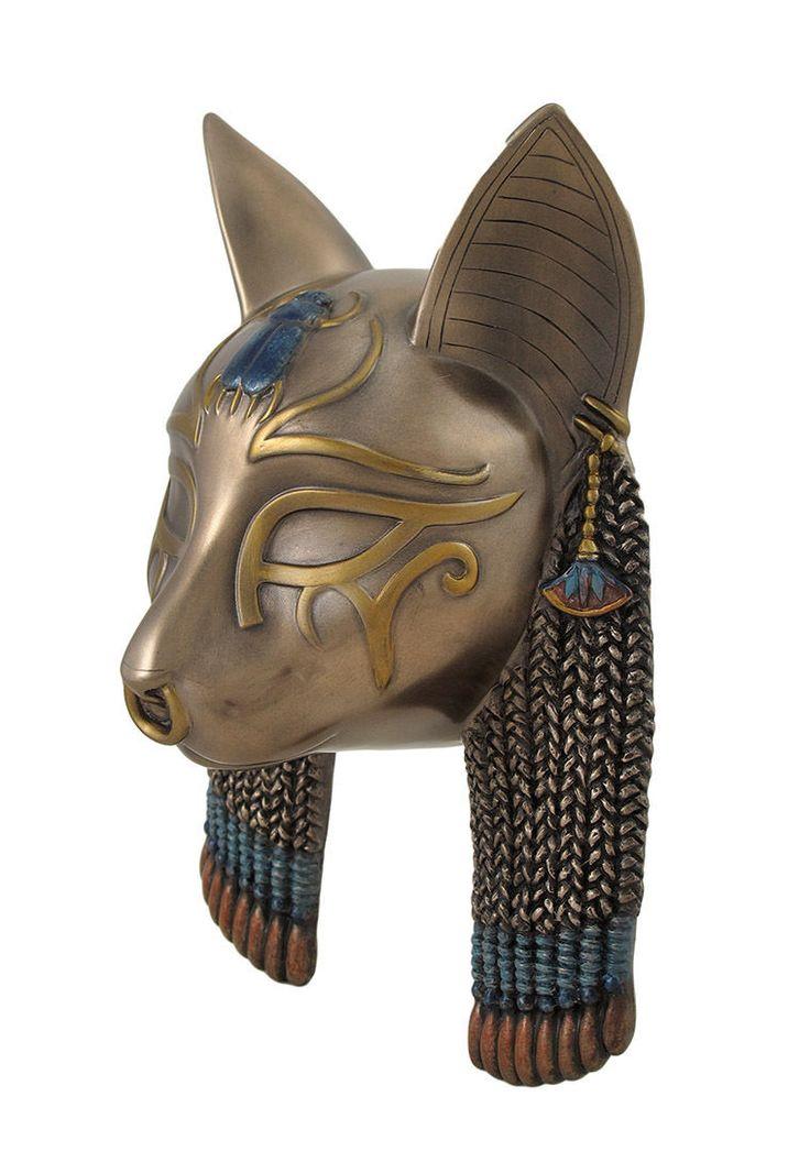 Egyptian Goddess Bastet Cat Head Mask Bronzed Wall Hanging | eBay