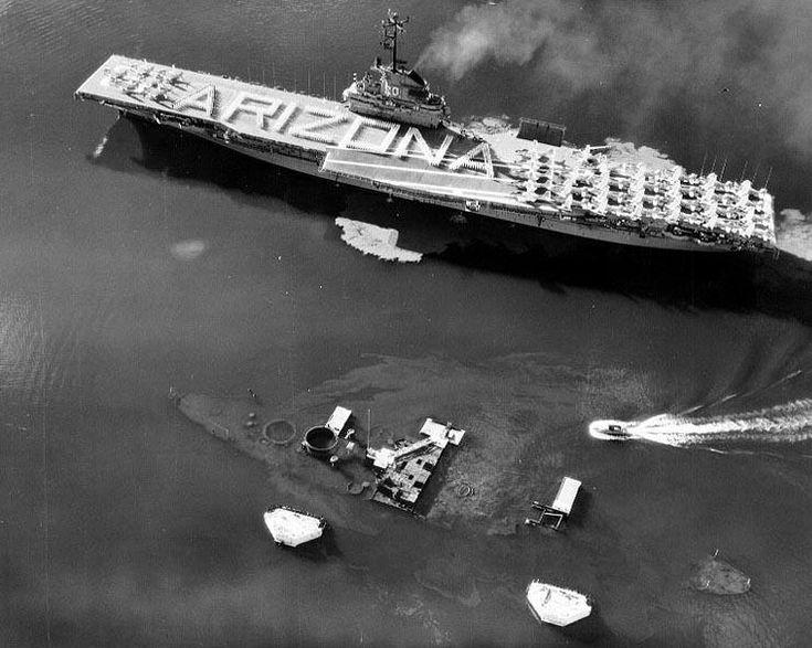 USS Bennington passes the wreak of the USS Arizona | World War Two » Pearl Harbour Raid December 7th 1941