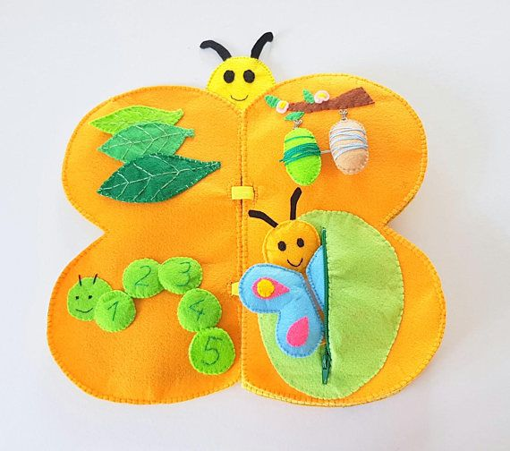 Butterfly quiet book, Montessori materials, activity book for toddler, life cycle of a butterfly, back to school insect book, preschool book Teach your kids about life cycle of a butterfly with my butterfly shaped quiet book. It is made of acrylic felt and it has a lots of details. The