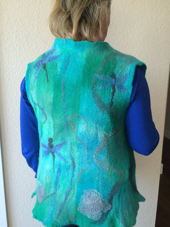 Felted vest wool and silk vest woman's vest felted by FancyFancies