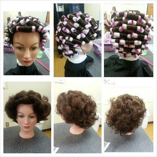 Bricklay perm wrap and comb out