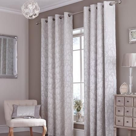 Dunelm Canterbury Grey Polyester Eyelet Curtains (W 228cm (90'') x Drop 137cm (54''))