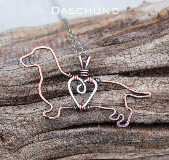 Daschund Necklace, Copper Dog, Dog Outline, Wire Jewelry