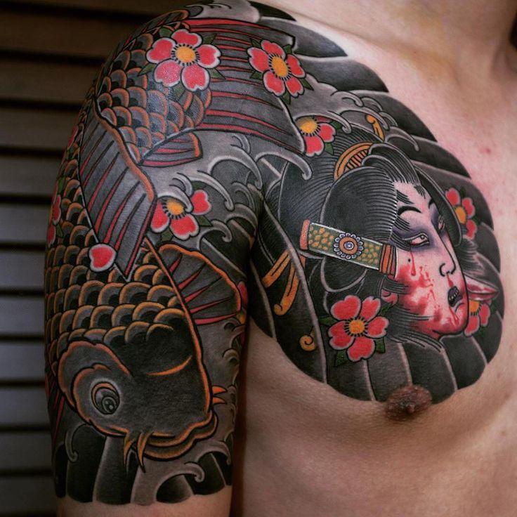 48 best namakubi images on pinterest oriental tattoo for Japanese style chest tattoos