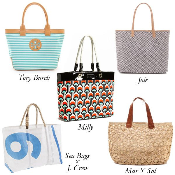 Best Beach Bags:  Tory Burch Small Sofia Tote; Joie Kennedi Tote; Milly Trial Canvas Tote; Sea Bags for J. Crew Indigo Collection Tote;  May Y Sol Valencia Tote.
