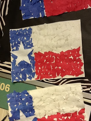 Keeping Up With The Kindergarteners: YeeHaw Ya'll! - torn paper Texas Flag