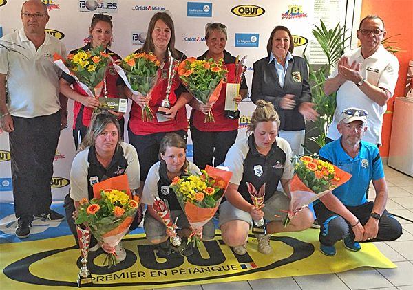 """""""Ligue territoire Rhône-Alpes mai 2017 à Chaponnay, le podium du triplette féminin"""""""
