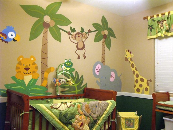 33 best images about wall murals on pinterest jungle for Baby boy mural ideas