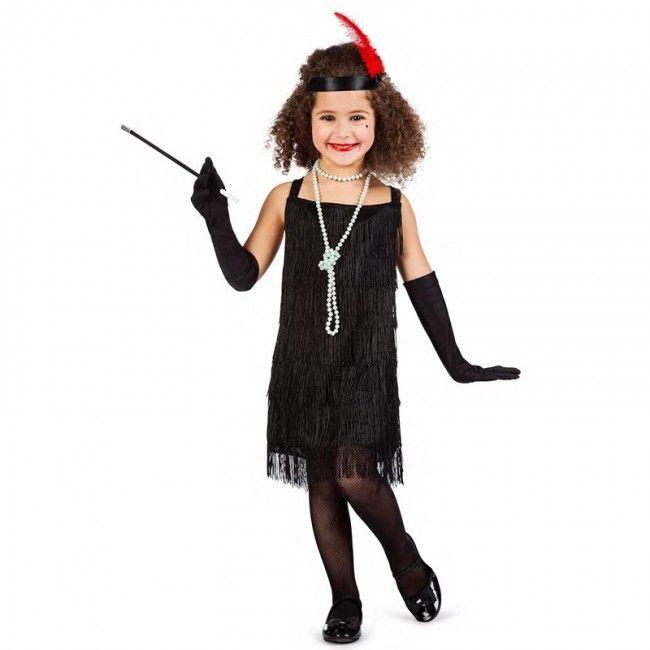 Disfraz de Charlestón flecos negros para niña #disfraces #carnaval #novedades2017