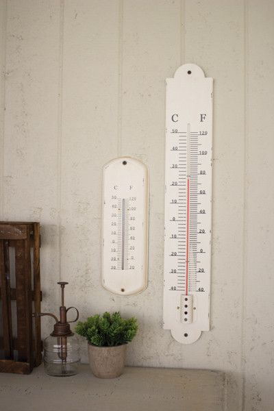 large vintage white thermometer — MUSEUM OUTLETS