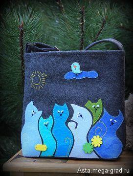 """Детская сумочка """"Мартовские коты """" - вещи из фетра, авторские аксессуары для детей. МегаГрад - портал авторской ручной работы"""