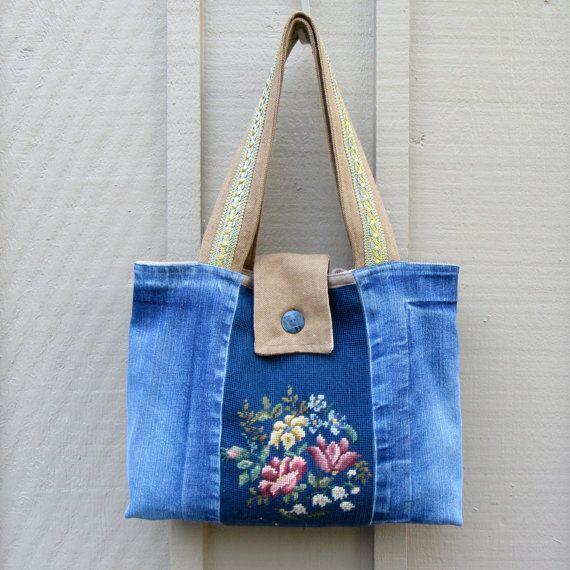 Handbag Purse Tote Vintage Denim Vintage by JackieSpicer on Etsy