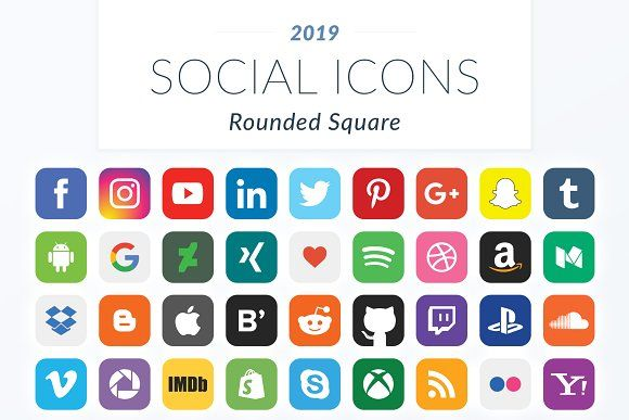 2019 Rounded Square Social Icons Social Icons Icon Social Media Template