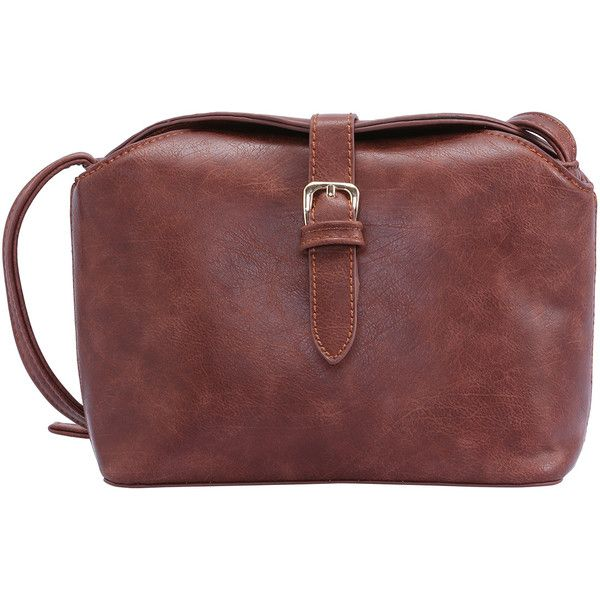 SheIn(sheinside) Brown Buckle PU Satchel Bag ($19) ❤ liked on Polyvore featuring bags, handbags, purses, shein, brown, hand bags, man bag, red handbags, handbags & purses and brown satchel purse