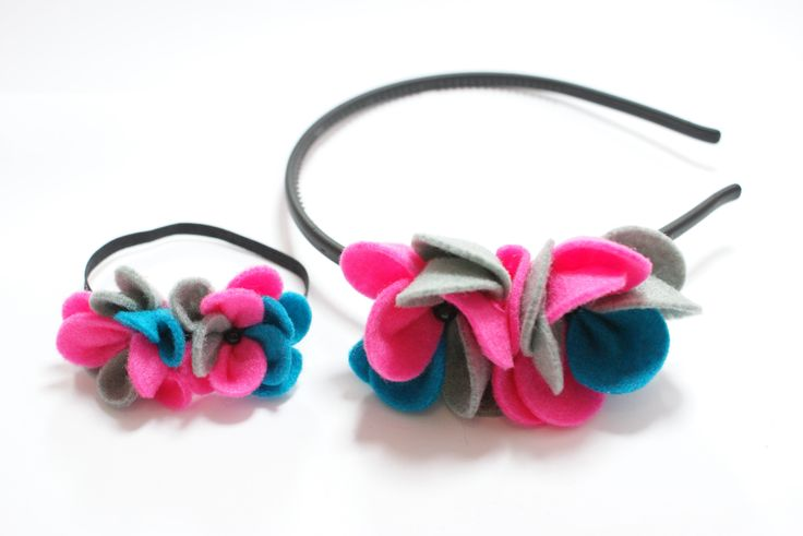 Hair band for girl and doll with felt flowers.