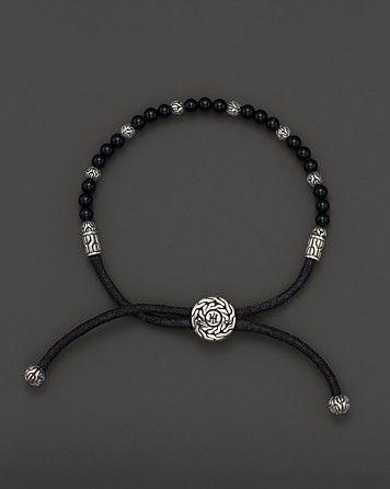 John Hardy Men's Sterling Silver Batu Bracelet with Black Onyx Beads | Bloomingdale's