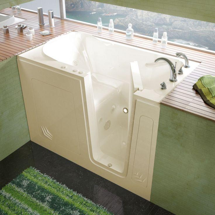 Right Drain Tub Part - 40: MediTub 30x54-inch Right Drain Biscuit Whirlpool Jetted Walk-In Bathtub  (30x54 Inch