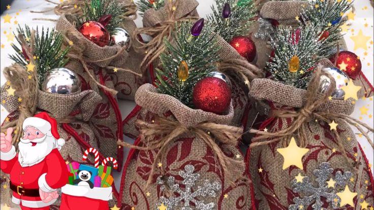 Manualidades Navideñas de decoracion de saquito de santa claus