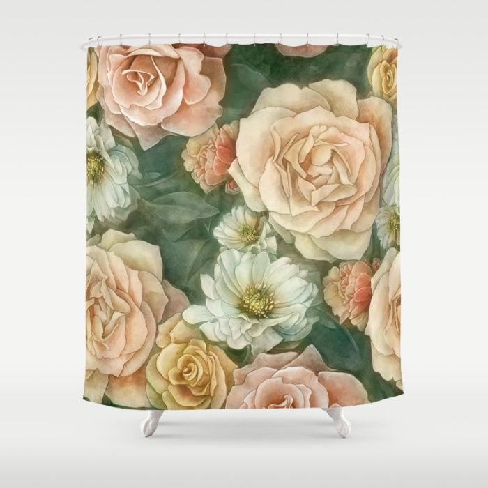 Floral rose pattern Shower Curtain by StrijkDesign | Society6