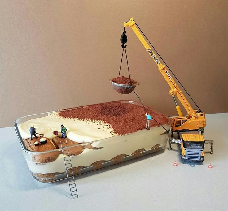 Italian pastry chef Matteo Stucchi creates elaborate worlds featuring tiny people and dessert landscapes.