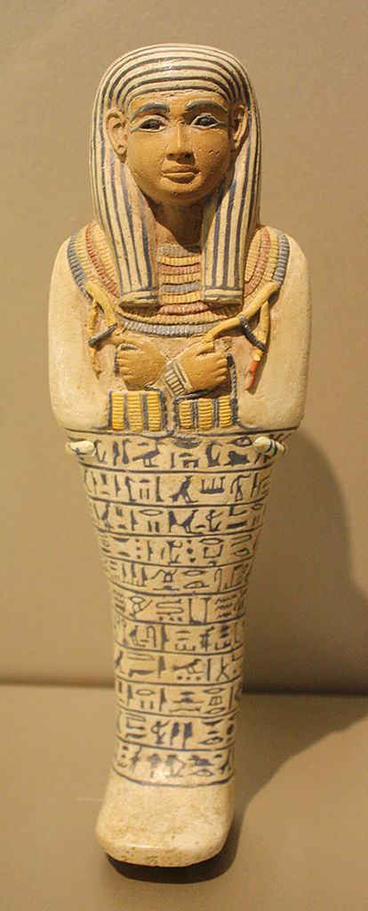 https://flic.kr/p/8aXtih   An Exceptional Egyptian Amarna Period Faience Ushabti of the Lady of the House Sati   Faience, New Kingdom, Amarna Period, Dynasty XVIII, ca. 1390-1352 B.C.E., From Saqqara  Height 9 13/16 in. (25 cm)  A taste for richly decorated objects developed during the time of Amunhotep III, both in statuary and in the personal arts such as pottery and jewelry. This funerary figure, or shawabti, is decorated vividly with paste inlays in six different colors, conveying a…