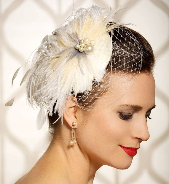 Headpieces For Wedding Hair Up: Bridal Hair Accessory, Feathers Fascinator, Birdcage Veil